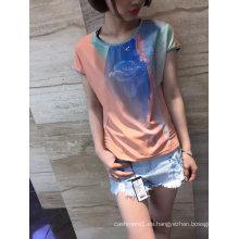 Ropa de la camiseta de las señoras de la flor de los gradientes de la última impresión de la moda del verano