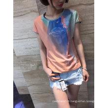 Mode d'été dernieres dégradés d'impression fleurs dames vêtements de t-shirt