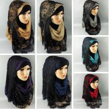 2017 Fashion sommer neue moderne Arabischen muslimischen spitze frauen hijab dubai malaysischen schal