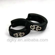 Cross design fashion mens stainless steel hoop earrings