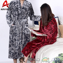 Cheap price warm microfiber super soft flannel fleece printed unisex bathrobe