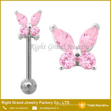 Surgical Steel Lt Pink Butterfly Eyebrow Ring Eyebrow Barbell Body Jewelry Piercing Bar