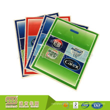 Billige biologisch abbaubare Supermarkt Supermarkt Patch Loch Griff Custom Logo gedruckt Plastiktüte