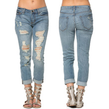 Custom Girl 3/4 Long Ripped Cotton Fashion Jeans