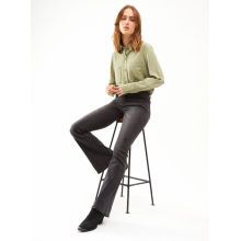 Ladies green cotton and linen texture casual shirt