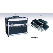 cosmética profesional aluminio negro bolsas de casos con 2 bandejas interior