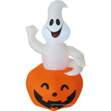 Feliz Dia das Bruxas inflável de abóbora fantasma branca