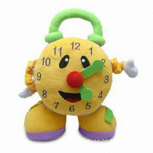 Clock-shaped Soft Plush Activity Toy with Mirror, Rattle and Movable Clock Hands