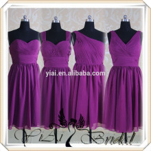 RSE66 Royal Purple Knee Length Chiffon padrões de vestidos de dama de honra