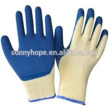 Gants revêtus de latex bleu en latex avec doublure en coton