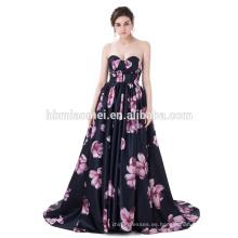 Vestido de boda atractivo del tren del vestido de bola del satén de la flor impresa seda sin respaldo negra sin tirantes