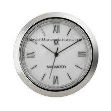 Promoción de pequeñas inserciones de reloj de metal de cuarzo analógico 37 mm