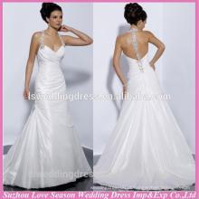 WD1197 Sexy querida pescoço diamantes cristais halter baixo volta simples tafetá fábrica preço vestidos de noiva moda vestidos de noiva
