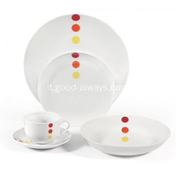 20 pezzo Coupe porcellana Dinnerset Round Dots
