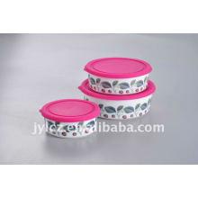 Ensemble de rangement pour aliments en céramique avec couvercle en silicone, forme ronde