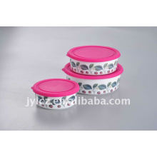 Ceramic food storage set with silicone lid,round shape