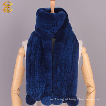 New Winter Rabbit Fur Knitted Scarf Warm Winter Fur Scarves With Pom Poms