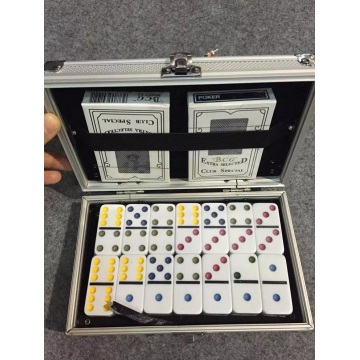 Colorful Dots dominoes game in Aluminum box