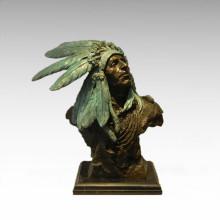 Bustos Estátua de Bronze Homem de Penas Decoração Escultura de Bronze Tpy-474