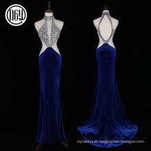 Mulheres de vestido sem costas populares luxuosas do vestido da garganta da cabeçada que nivelam padrões
