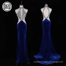 Люкс популярные женщины спинки холтер шеи платье вечерние выкройки