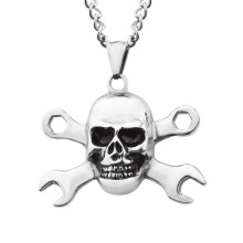 Cool Boys Stainless Steel Gothic Jewelry Skull Cross Casting Male Necklace