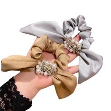 Korean Solid Fabric Pearl Rhinestone Bow Knot Scrunchies Hair Tie Elastic Band Ring Cute Girl Head Rope Rubber