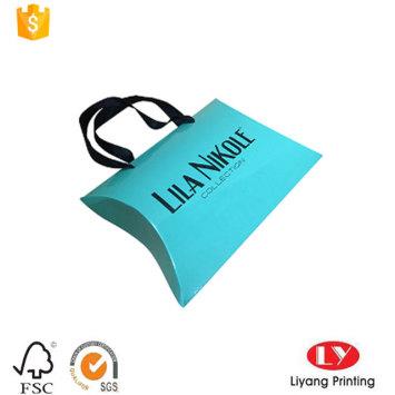 Glossy Custom Pillow Box with Ribbon Handle