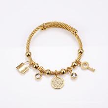 Stainless steel hand of Fatima bracelet titanium steel key lock with diamond round bracelet jewelry