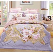 Juego de cama de rey de California conjunto de dormitorio Juego de cama de cama de rosa con cubierta de almohada