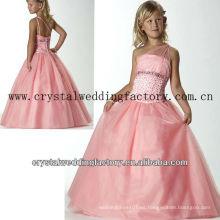 2013 venta caliente un hombro vestido de baile con cuentas falda rosa baratas vestidos niña desfile CWFaf5176