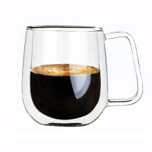 Wholesale Gift Funky Double Wall Glass Custom Coffee Mug with handle