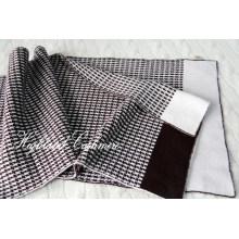 Кашемир вязаный шарф с жаккардовым узором гусиная лапка