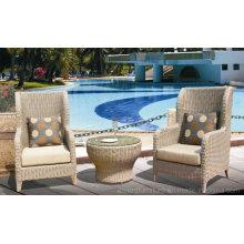 High Back Hotel Lobby Rattan Wicker Leisure Chair Brown 2 + 1 шт. Для отеля Lobby Cafe Shop
