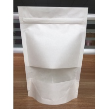 Saco de papel de 100% Compostable / Biodegradable Kraft com janela