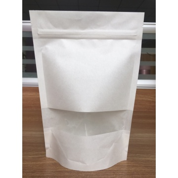 Bolsa de papel Kraft 100% compostable / biodegradable con ventana