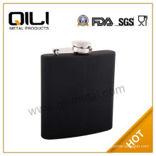 6oz balck rubber coating stainless steel hip flask