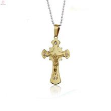 Jóias de ouro material principal 24 k ouro jesus cruz pingente de jóias