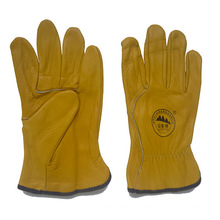 Gloden Color Leather Truckers Driving Gloves