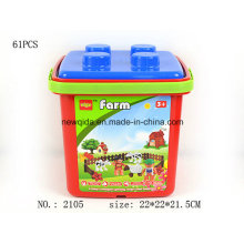 Puzzle Toy Farm Building Block with Plastic Bucket