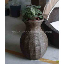 Outdoor Garden Pe Rattan Round Design Flower Pot Basket
