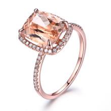 10x12mm Cushion Cut Morganite and Diamond Engagement Ring 14k Rose gold Big 4.4ct Gem Halo Stacking Band