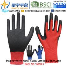 13G Polyester Shell Sandy Nitrile Palm Coated Gloves (N2001) with CE, En388, En420, Work Gloves