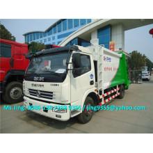Euro 3 DFAC 5-6 toneladas compactador preço do caminhão de lixo, 4x2 caminhão de lixo com compactador