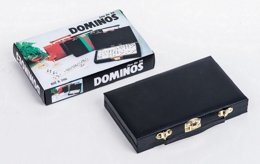 Double 9 Plastic Dominoes Set In Leather Box