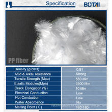 Uso de hormigón de fibra de polipropileno monofilamento