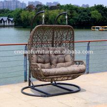 Chaises de balançoire en rotin de jardin double confortable pour 2 personnes