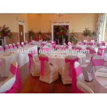 Graceful nuptial visa polyester chair covers with organza sash