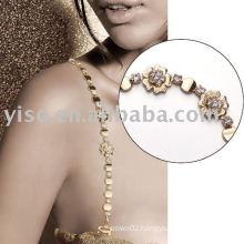 floral metal rhinestone bra strap