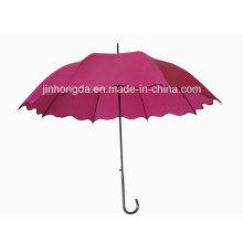 Wave Shape Edge Fiberglass Ribs Straight Auto Umbrella (YSC0013)